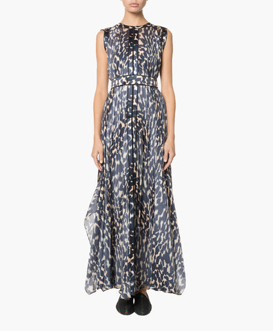 BELTED LONG PRINTED SILK MUSLIN DRESS