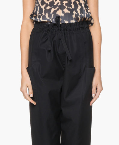 HIGH-WAISTED GABARDINE TROUSERS