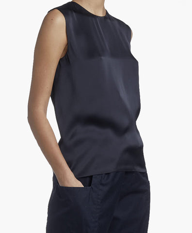 SLEEVELESS CHARMEUSE TOP
