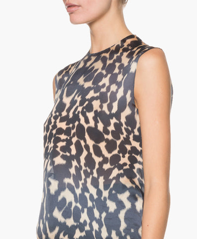 SLEEVELESS PRINTED SILK MUSLIN TOP