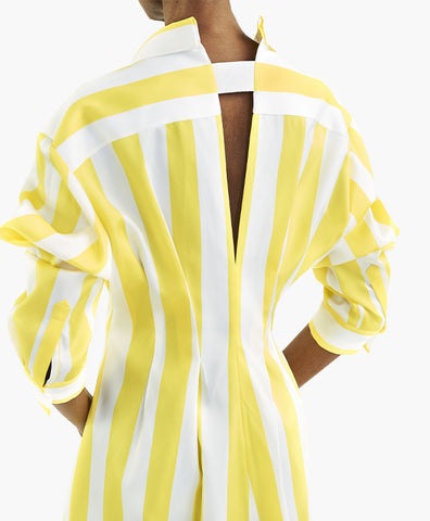 STRIPED SATIN FITTED WAIST SHIRT-DRESS