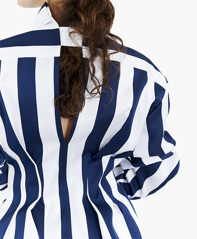 STRIPED SATIN FITTED WAIST SHIRT