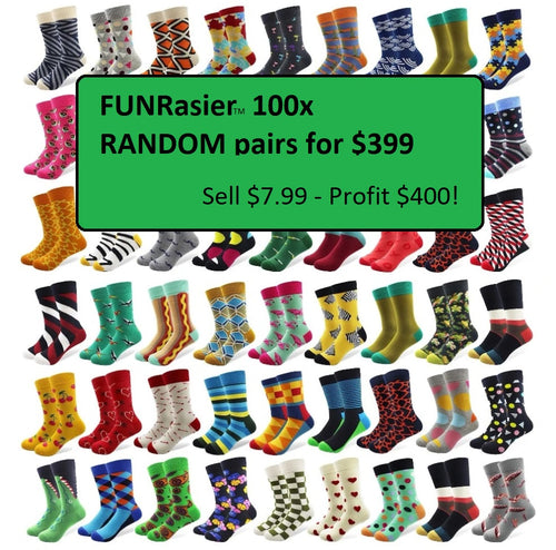 100 Random Pairs / lot Fundrasier Wholesale Unisex Colorful Striped Cartoon Combed Cotton Socks