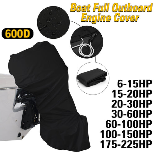 600D 6-225HP Boat Full Motor Cover Outboard Engine Protector for 6-225HP Boat Motors Black Waterproof