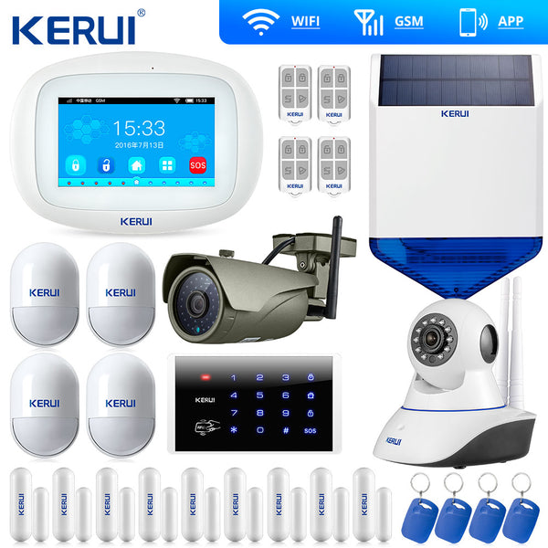 Kerui K52 Touch Screen WIFI GSM Alarm  Security Home Alarm System Smart Home  Door Open Reminder Wifi IP Camera Solar Siren
