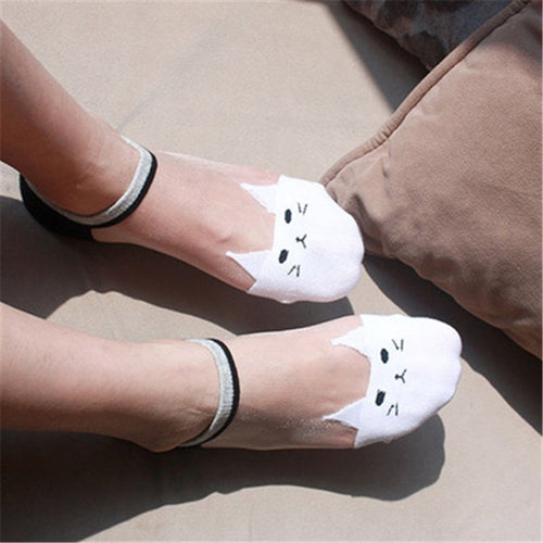 1 Pair Cute Print Cat Harajuku Transparent Socks