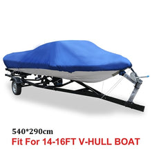 Load image into Gallery viewer, X AUTOHAUX 540/570/700 x 280/300CM 210D Trailerable Boat Cover Waterproof Fishing Ski Bass Speedboat V-shape Blue Boat Cover