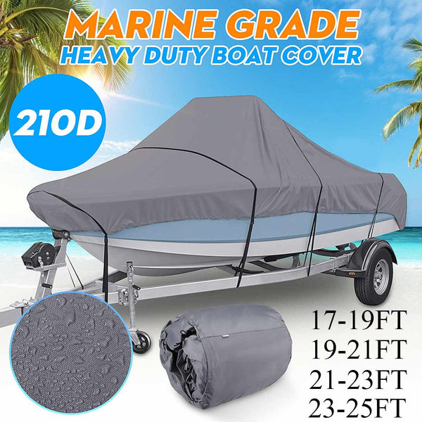 17-25ft Grey Trailerable Boat Cover 210D Waterproof Fishing Ski V-Hull Sunproof Anti UV Heavy Duty Marine Boat Mooring Cover