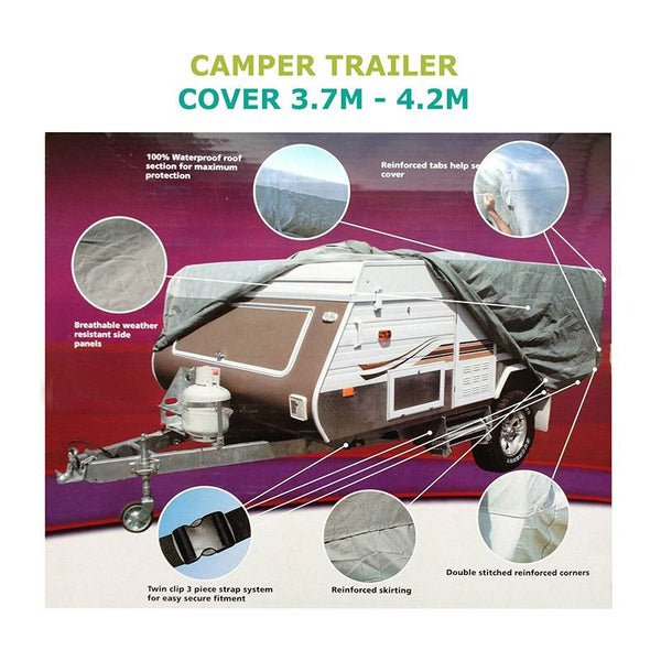 4.2x2.2x1.35m For Camper Trailer Cover Waterproof Windproof Anti-UV Cover Indoor Outdoor All Weather Towing Cover Protector
