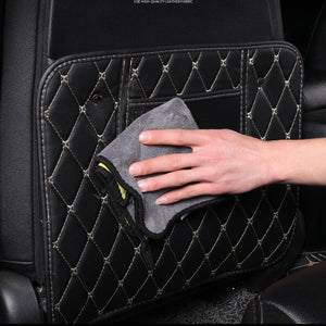 HYZHAUTO 1Pcs Leather Car Seat Back Protector Mats Storage Bag Children Anti-Kick Pad Auto Seats Protect Cover