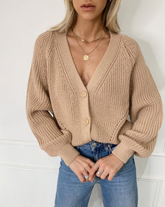 Cardigan  Sweaters Tops Women  2020 Autumn New Knit Loose Casual Solid Color V-neck Lantern Sleeves bat Sleeves  Button Jacket