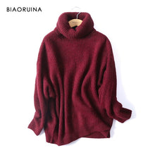 Load image into Gallery viewer, BIAORUINA Women Oversize Basic Knitted Turtleneck Sweater Female Solid Turtleneck Collar Pullovers Warm 2020 New Arrival