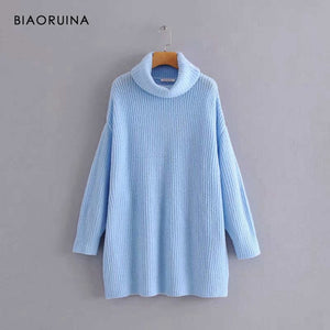 BIAORUINA Women Oversize Basic Knitted Turtleneck Sweater Female Solid Turtleneck Collar Pullovers Warm 2020 New Arrival