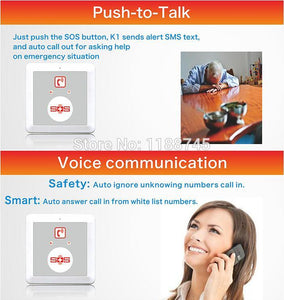 gsm cell phone emergency senior care auto dialer with Gsm alarm dialer K1