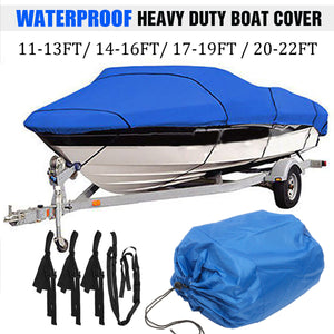 11-13ft 14-16ft 17-19ft 20-22ft Heavy Duty Blue Boat Cover Waterproof Anti UV 210D Marine Trailerable V-Hull Protective Canvas