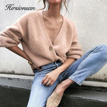 Load image into Gallery viewer, Hirsionsan Elegant Long Sleeve Mohair Sweater Women 2020 New Single-Breasted Female Short Cardigan Soft Flexible Knitted Outwear