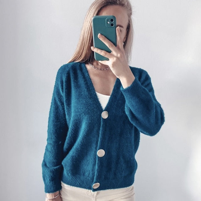 Hirsionsan Elegant Long Sleeve Mohair Sweater Women 2020 New Single-Breasted Female Short Cardigan Soft Flexible Knitted Outwear