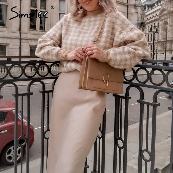 Houndstooth Khaki Knitted Sweater Pullover