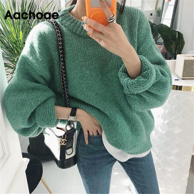 Aachoae Sweater Women 2020 Autumn Winter Solid O Neck Pullover Sweaters Korean Style Knitted Long Sleeve Jumpers Casual Tops