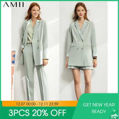 Amii Minimalism set for women Autumn  4 piece set Solid blazer,tanks,high waist pants sold separately women's costumes 12060909