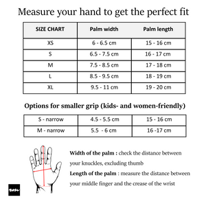 scooter gloves size chart