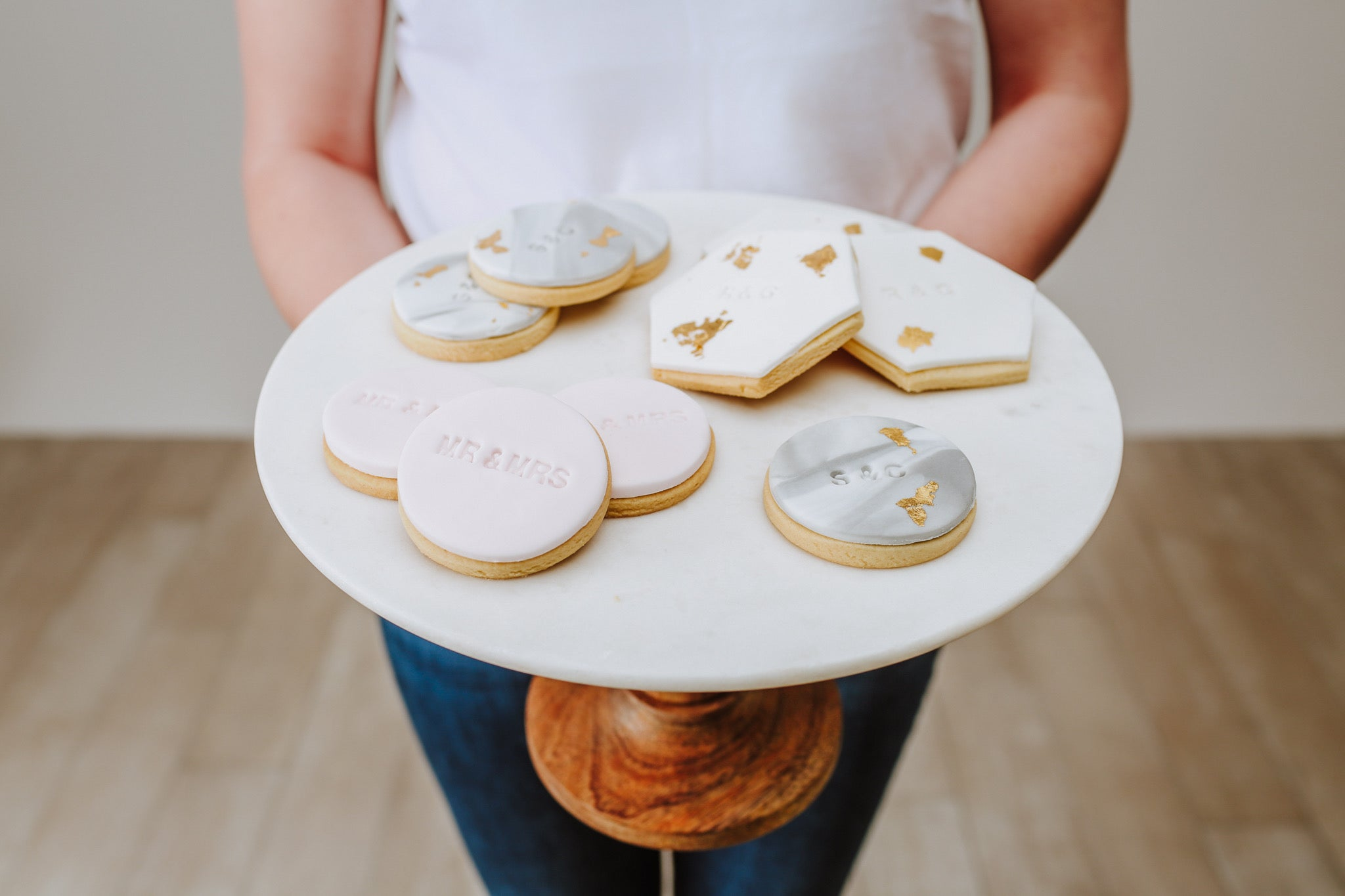 wedding cookie favours on stand
