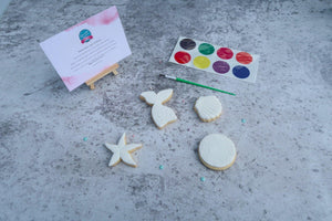 Paint your own mermaid cookies, mermaid, shell and starfish, paint, paint brush and PYO instructions