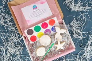 Paint your own mermaid set in box with pink tissue, mermaid cookies