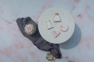 Bride to Be cookie, Wedding cake cookie, wedding dress cookie, heart cookie with bride and groom initials, round cookie with bride's name, pink and rose gold cookies