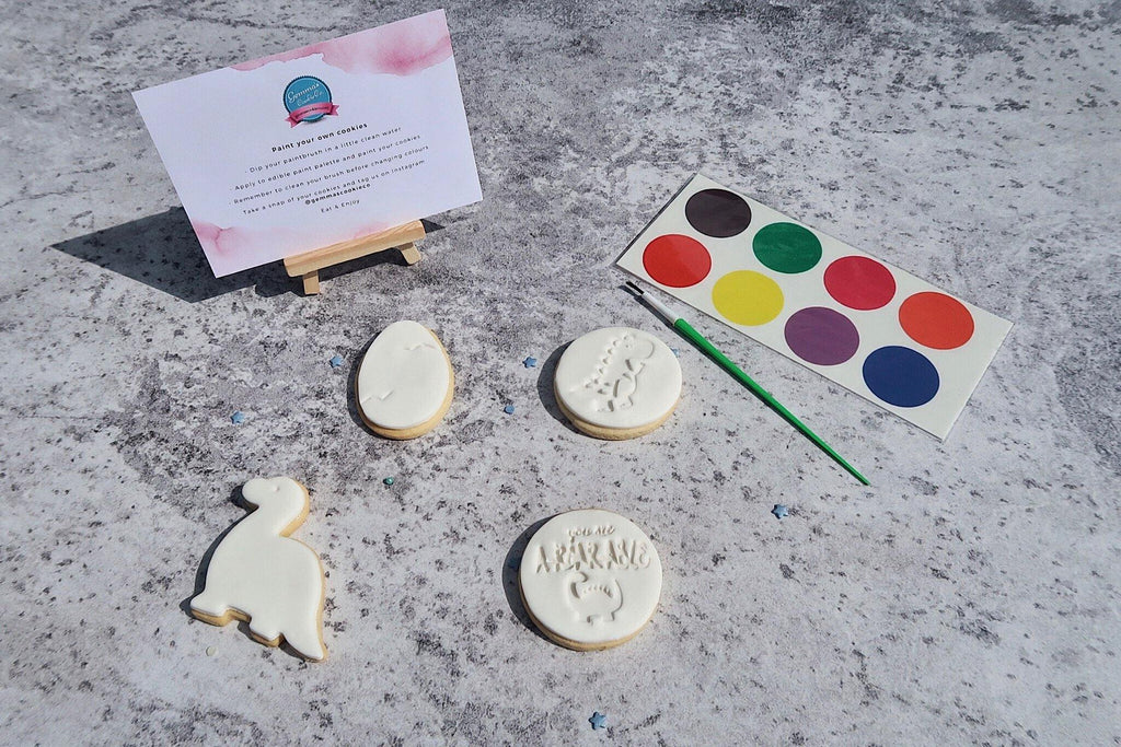 Dinosaur paint your own cookie set, 4 dino cookies, paint your own paint, instructions and paintbrush