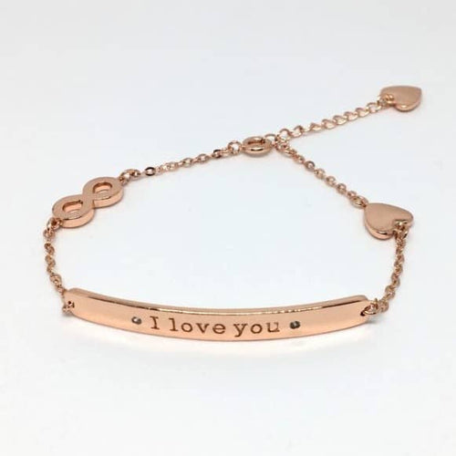 Bracelet I love you en plaqué or rose