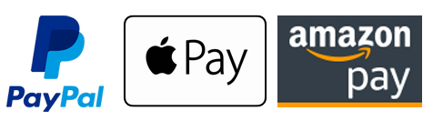 Paypal Apple Pay and Amazon Pay logos