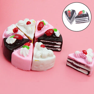 10PCS Cute Kawaii Flat Back DIY Miniature Artificial Fake Food Cake Resin Cabochon Decorative Craft Play Doll House Toy 4Styles