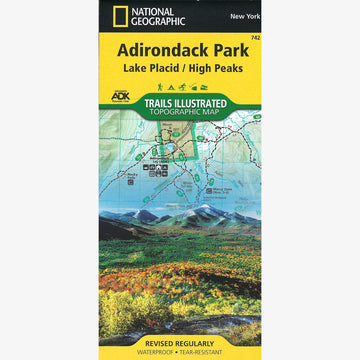 Adirondack Park Map: Lake Placid, High Peaks