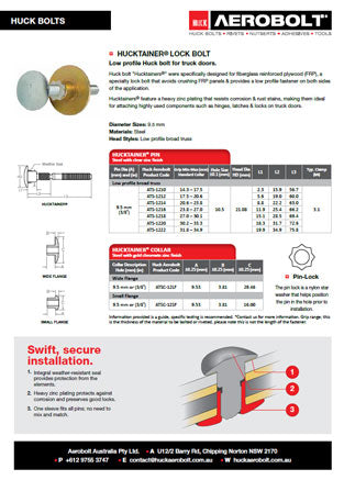 Hucktainer Lock Bolt Data Sheet