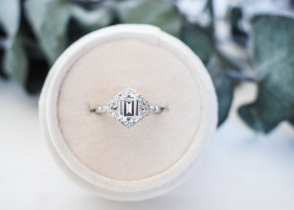 14k Emerald Cut Vintage Style Halo Engagement Ring