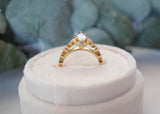 14k Gold Marquise Vintage Floral Engagement Ring