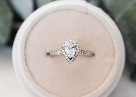 14k Vintage Pear Halo Engagement Ring