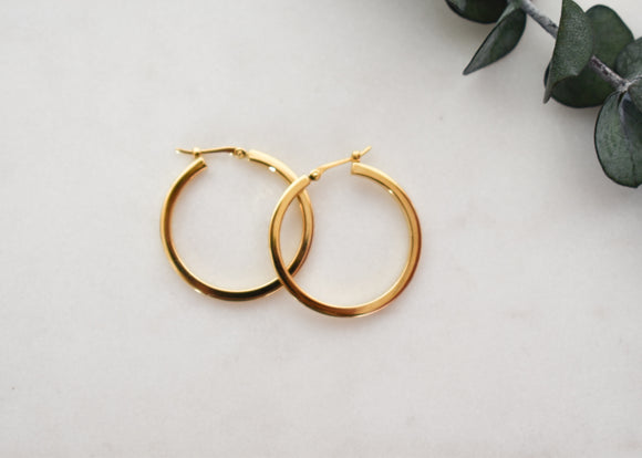Classic Square Tube Yellow Gold Hoop Earrings 25mm