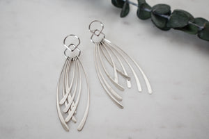 Sterling Silver Curved Fringe Earrings