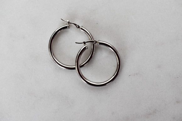 Classic Round Tube White Gold Hoop Earrings
