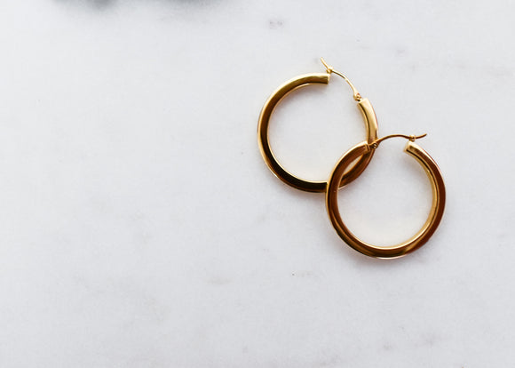 Classic Square Tube Yellow Gold Hoop Earrings 33mm