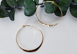 Classic Yellow Gold Thin Hammered Hoop