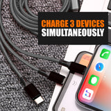 WeCool Nylon Braided Premium 3 in 1 Fast Charging Cables with Type C , Android and iPhone Charging, All in one Multipurpose Fast Charging Cables Mobile Accessories