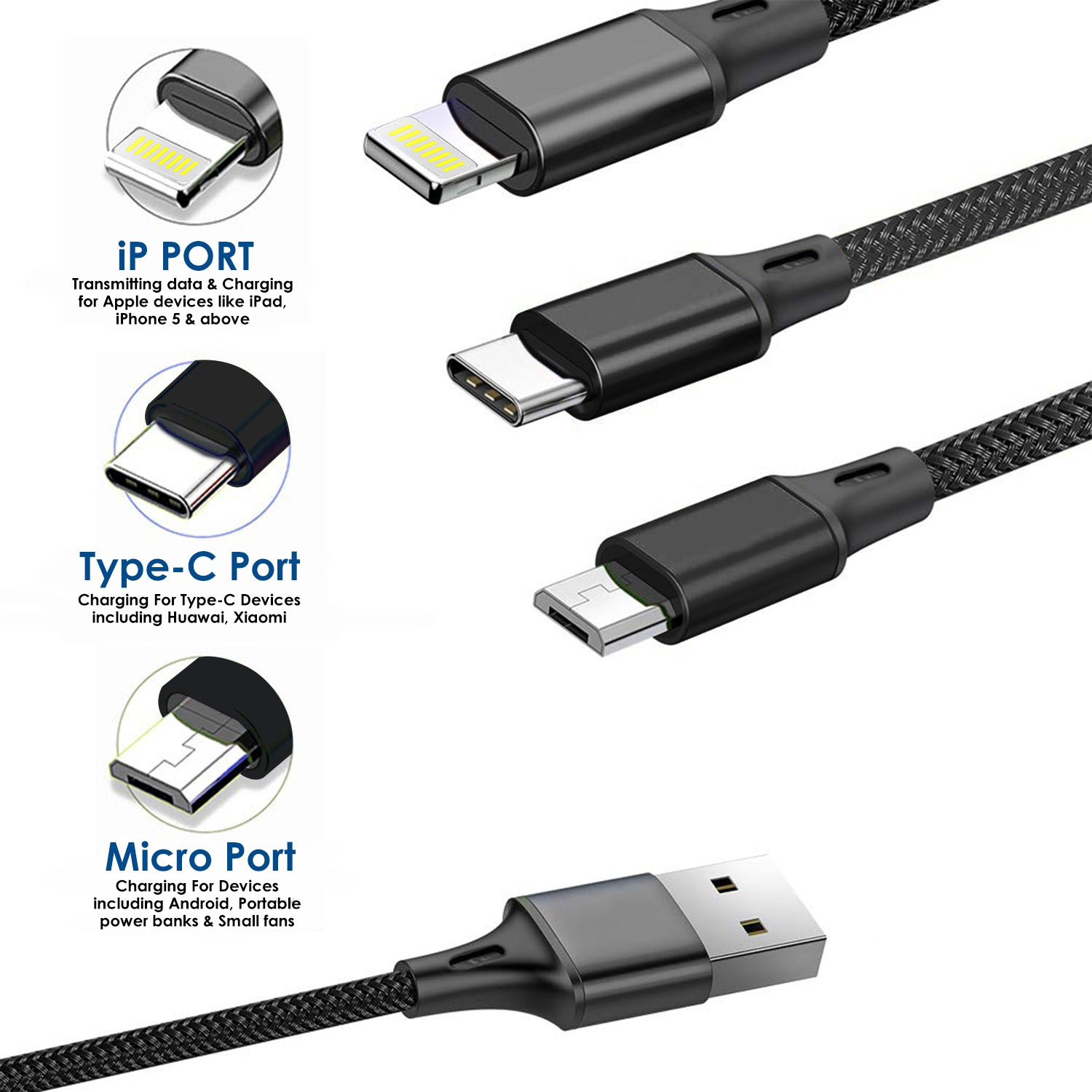 Wecool Nylon Braided Premium 3 In 1 Fast Charging Cables With Type C