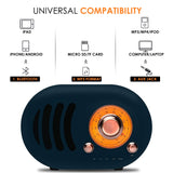 WeCool Vintage Bluetooth Speakers Wireless with HD Stereo Sound and Portable FM Radio Classic Style Bluetooth 5.0, TF Card Slot, AUX Input, Answer Call with Portable Speakers (Navy Blue)