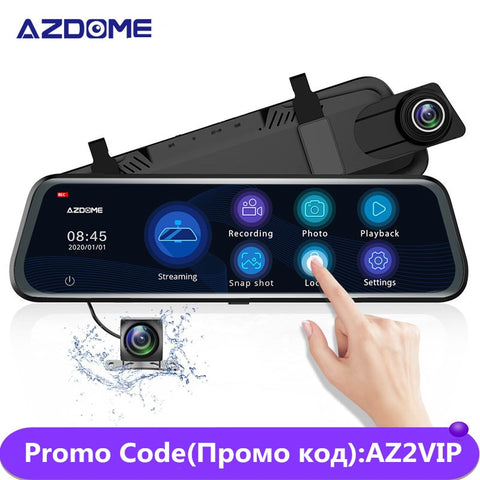 AZDOME 10'' 1080P  DVR Touch Screen Mirror Cam, Dual Lens, Night Vision, GPS, Streaming