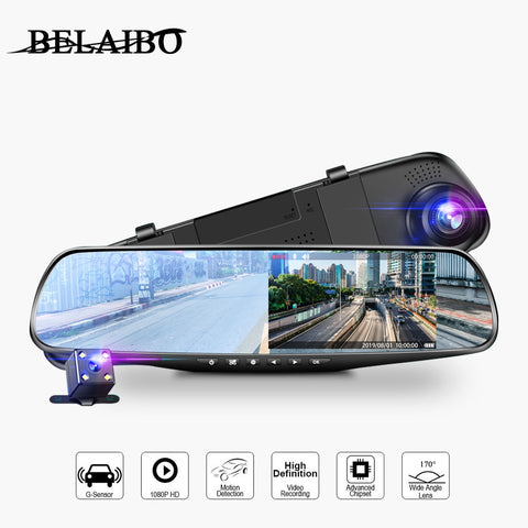 Mirror Dash Cam Full HD 1080P DVR, Motion Tracking
