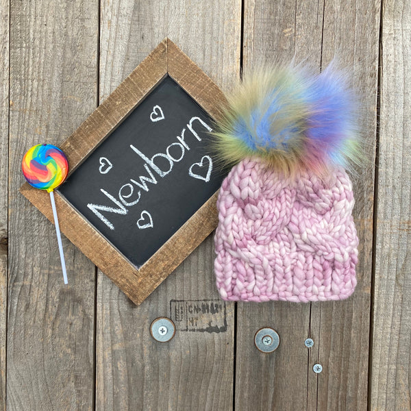 Newborn Cable Beanie - Pink