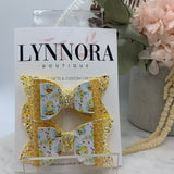 Honeycomb Bee Piggy Bows